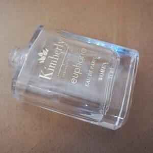 چاپ برند Kimberly روی شیشه عطر - چاپ صنعتی ایساتیس